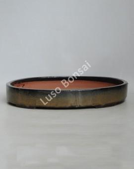 Vaso Oval 37x28x4.5 cm Castanho