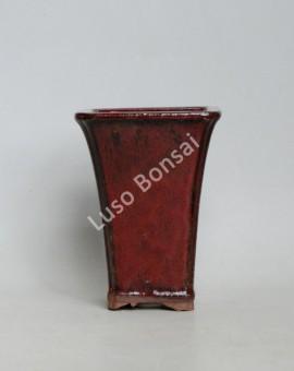 Vaso Cascata Quadrada 14x11x11 cm Castanho
