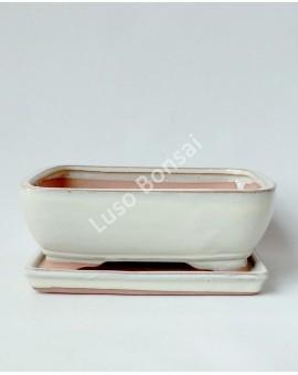 Vaso + Prato Rectangular 19x15x7.5 cm - Creme