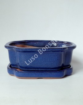 Vaso + Prato Oval 20x16x6.5 cm - Azul