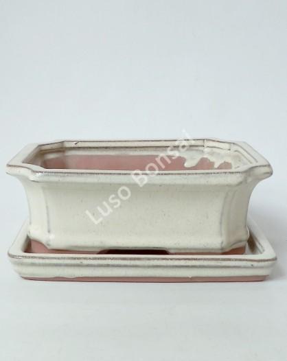 Vaso + Prato 26x19,5x8 cm - Creme