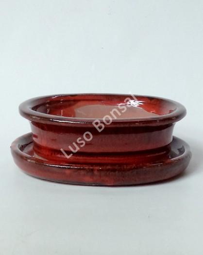Vaso + Prato Oval 30.5x25x9 cm - Vermelho