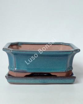 Vaso + Prato Rectangular 26x19,5x8 cm - Verde
