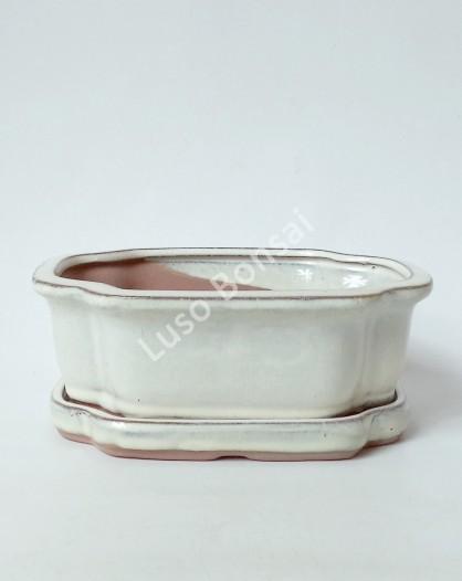 Vaso + Prato Oval 15.5x12x6.5 cm - Creme