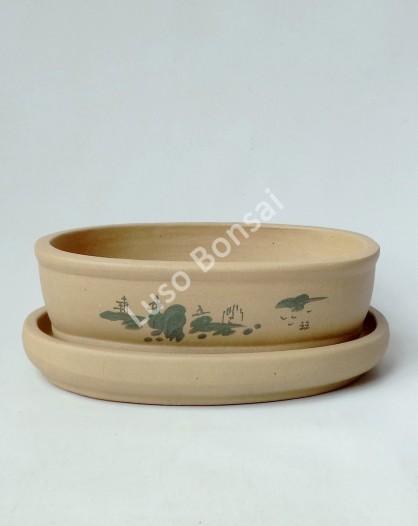 Vaso + Prato Oval 25x18x6,5 cm - Sem Esmalte Claro