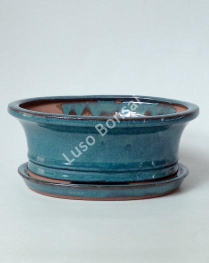 Vaso + Prato Oval 15,5x12x4,5 cm - Verde