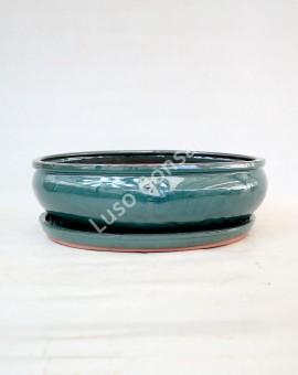 Vaso + Prato Oval 37x29x10 cm Verde