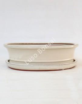 Vaso Oval + Prato 36.5x29,5x10 cm Creme