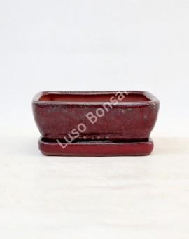 Vaso Rectangular + Prato 15.5x11.5x5 cm Vermelho