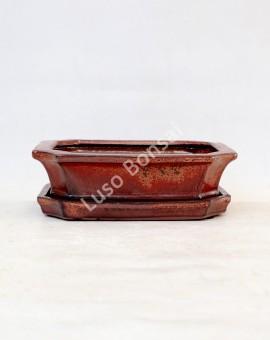 Vaso Rectangular + Prato 21x16x7 cm Castanho Oxido