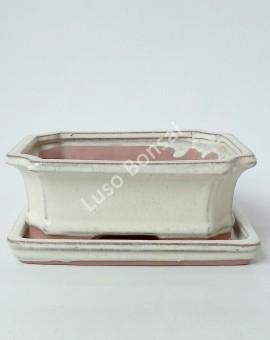 Vaso + Prato Rectangular 21x16x7 cm - Creme