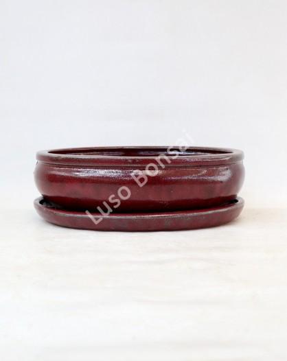 Vaso Oval + Prato 25x20x8 cm Vermelho