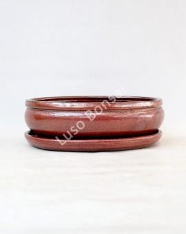 Vaso Oval + Prato 25x20x8 cm Castanho Oxido
