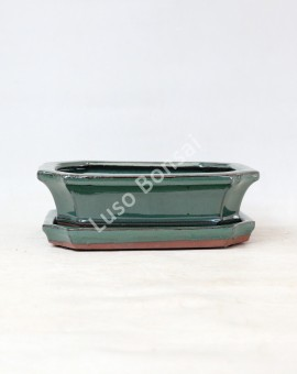Vaso + Prato Rectangular 21x16x7 cm - Verde