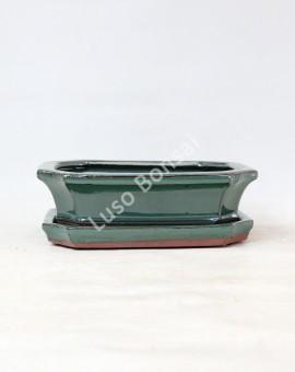 Vaso Rectangular + Prato 36,5x23x10,5 cm Verde