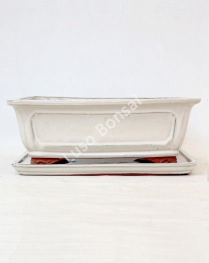 Vaso Retangular + Prato 32,5x25,5x11cm Creme