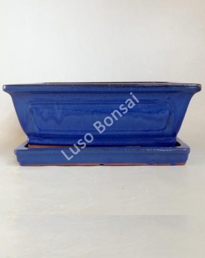 Vaso + Prato Rectangular 37x29x12 cm Azul