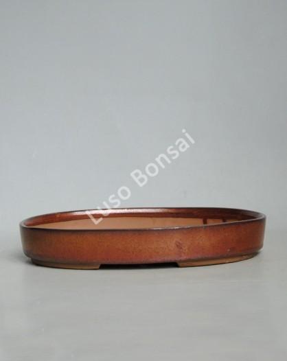 Vaso Oval 30.5x21x4.3 cm Castanho Oxido