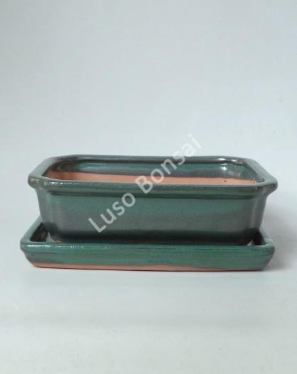 Vaso + Prato Rectangular 26,5x21x7 cm - Verde