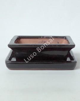 Vaso Rectangular + prato 28x20,5x8,5 cm Preto
